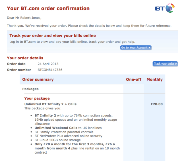 BT Infinity order confirmation