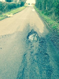 Just before you enter the village from Kingsdown, beware this dangerous subsidence and pothole