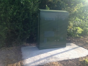 An unexpected arrival in the Lower Village - a BT fibre optic broadband cabinet